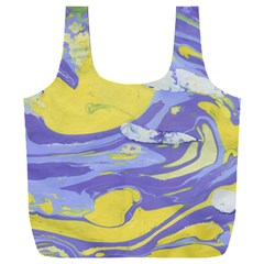Yellow And Purple Paint Full Print Recycle Bag (xxl)