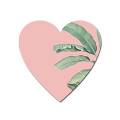 Green Leaves On Rose Ink Heart Magnet by goljakoff