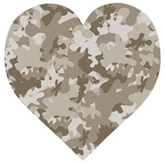 Tan Army Camouflage Wooden Puzzle Heart