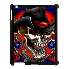 Confederate Flag Usa America United States Csa Civil War Rebel Dixie Military Poster Skull Apple Ipad 3/4 Case (black)