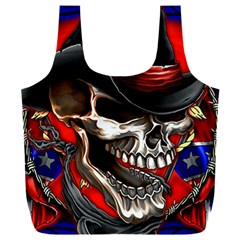 Confederate Flag Usa America United States Csa Civil War Rebel Dixie Military Poster Skull Full Print Recycle Bag (xxxl)