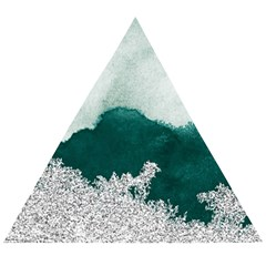Green Watercolor Silver Foil Wooden Puzzle Triangle