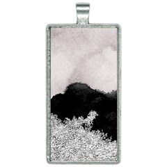 Black Watercolor Silver Foil Rectangle Necklace by goljakoff