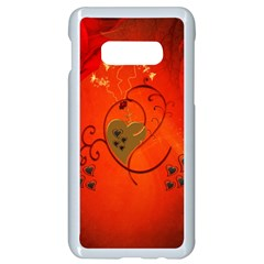 Golden Heart On Vintage Background Samsung Galaxy S10e Seamless Case (white)