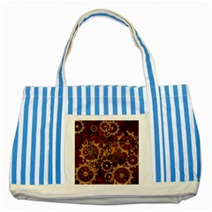 Steampunk Patter With Gears Striped Blue Tote Bag by FantasyWorld7