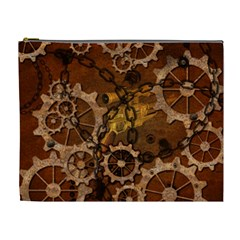 Steampunk Patter With Gears Cosmetic Bag (xl) by FantasyWorld7