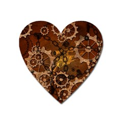 Steampunk Patter With Gears Heart Magnet by FantasyWorld7