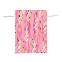 Pink Leaf Pattern Lightweight Drawstring Pouch (l)