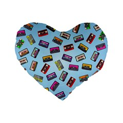 Retro Look Standard 16  Premium Flano Heart Shape Cushions