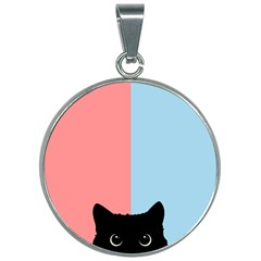Sneaky Cat 30mm Round Necklace