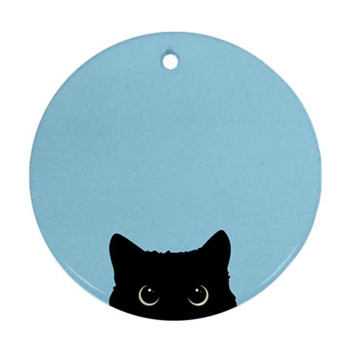 Sneaky kitty Round Ornament (Two Sides)