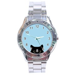 Sneaky Kitty Stainless Steel Analogue Watch
