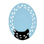 Sneaky kitty Ornament (Oval Filigree) Front