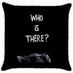 Who is there? Throw Pillow Case (Black) Front