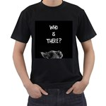 Who is there? Men s T-Shirt (Black) Front