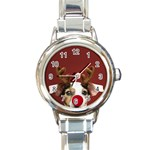 Christmass deer Round Italian Charm Watch Front
