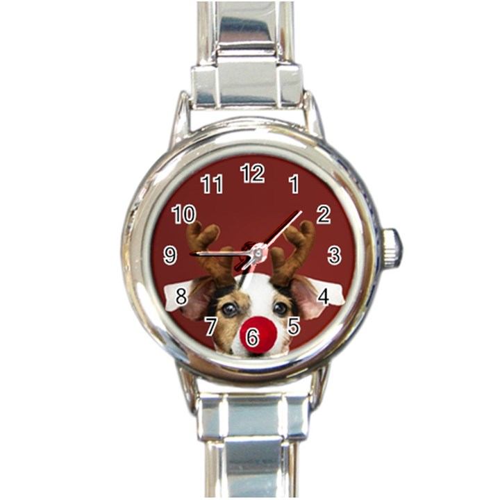 Christmass deer Round Italian Charm Watch