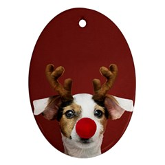 Christmass Deer Oval Ornament (two Sides)