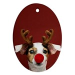 Christmass deer Oval Ornament (Two Sides) Front