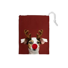 Christmass Deer Drawstring Pouch (small)