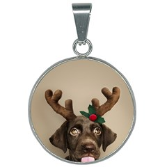 Christmas Dog 25mm Round Necklace