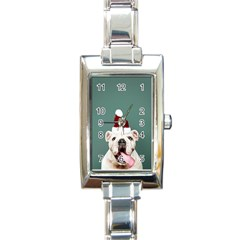 Santa Dog Rectangle Italian Charm Watch