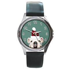 Santa Dog Round Metal Watch