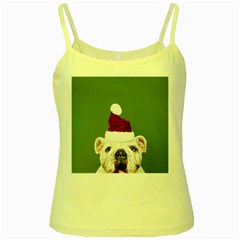 Santa Dog Yellow Spaghetti Tank