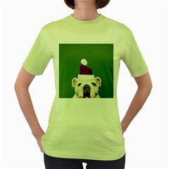 Santa Dog Women s Green T Shirt