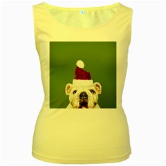 Santa Dog Women s Yellow Tank Top