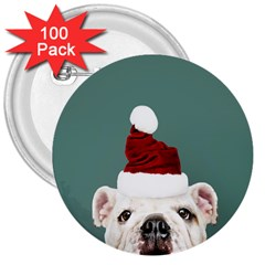 Santa Dog 3  Buttons (100 Pack)
