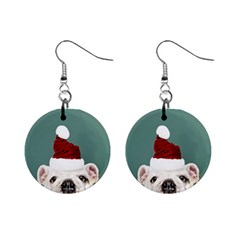 Santa Dog Mini Button Earrings