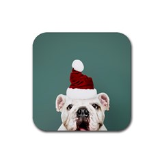 Santa Dog Rubber Square Coaster (4 Pack)