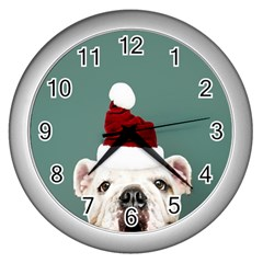 Santa Dog Wall Clock (silver)