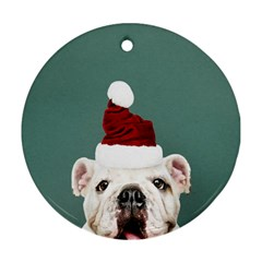 Santa Dog Round Ornament (two Sides)