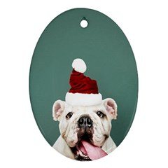 Santa Dog Oval Ornament (two Sides)