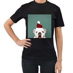 Santa Dog Women s T Shirt (black)