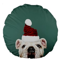 Santa Dog Large 18  Premium Round Cushions