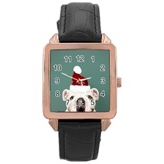 Santa Dog Rose Gold Leather Watch