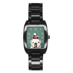 Santa Dog Stainless Steel Barrel Watch