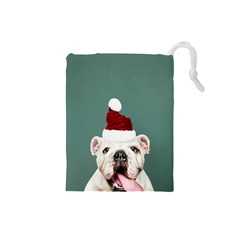 Santa Dog Drawstring Pouch (small)