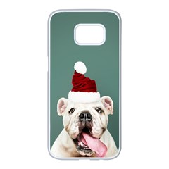 Santa Dog Samsung Galaxy S7 Edge White Seamless Case