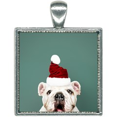 Santa Dog Square Necklace