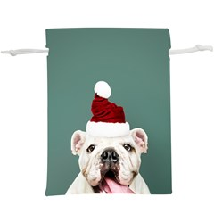 Santa Dog  Lightweight Drawstring Pouch (xl)