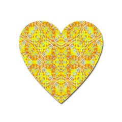 Vivid Warm Ornate Pattern Heart Magnet by dflcprintsclothing