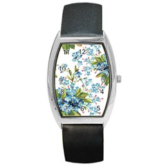 Blue Floral Print Barrel Style Metal Watch