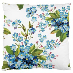 Blue Floral Print Large Cushion Case (two Sides)