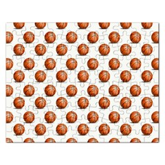 Orange Basketballs Rectangular Jigsaw Puzzl by mccallacoulturesports