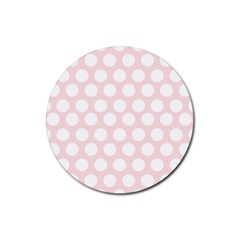 Pink And White Polka Dots Rubber Round Coaster (4 Pack)  by mccallacoulture