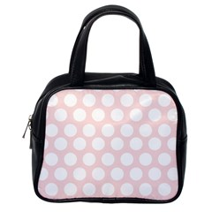Pink And White Polka Dots Classic Handbag (one Side) by mccallacoulture